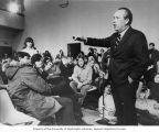 Senator Henry M. Jackson dicussing issues with students and faculty at a Wisconsin Student Meeting...