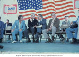 Senator Henry M. Jackson sitting with Daniel Patrick Moynihan and others at an event for union...