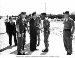 Senator Henry M. Jackson shaking hands with Sergeant Major Rios during a tour of the U.S. Army...