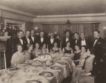 Dinner guests gathered at home of Sol (Solly) and Coral Spring, Seattle, Washington, ca. 1932