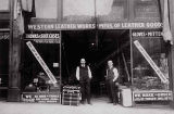 Charles Stusser (left) and Julius Deutsch in front of Western Leather Works, 1311 1st Ave.,...