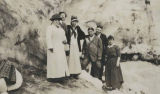 Eva Stusser (center) with the Shafer brothers and others at Nisqually Glacier on Mount Rainier,...