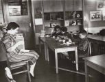 Temple Beth Am nursery school teacher Edith Patashnik (left) with children in class, Seattle,...