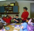 Students and woman teacher in classroom, Temple Beth Am religious school, ca. 1980s-1990s