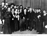 "Cast of Yiddish play ""Yoshe Kalb"" with Albert Einstein, New York City, 1934"