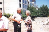 Samuel Stroum talking with Patricia Bullitt Collins at the groundbreaking for The Summit, a...