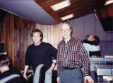 Steve Lawson and Kurt Steinbrecher in control booth at Lawson Production Studio, Seattle, March 8,...