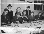 Soldiers eating Yom Kippur dinner at Bikur Cholim, 1943