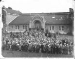 Large group in front of building after the march to the new Talmud Torah, October 25, 1930