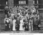 Isaac Cooper, Lizzie Levy Cooper, and others in front of the Forestry Building at the University...