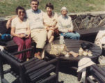 Inge Ruth Leeds Love, Ken Love, Trude, and Erna sitting at table at Mt. Rainier, 1986