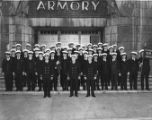 Morris Halpern (fourth from right, front row) and other members of U. S. Coast Guard in front of...
