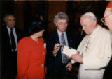 Sandy and Henry Friedman with Pope John Paul II at Vatican commemoration of Yom Ha'Shoah, April 7,...