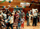 Crowd including Mercer Island Branch Jewish Community Center Cultural Activities Director Julie...