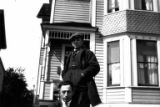 Abe Hoffman and Al Hoffman on street at 18th Ave. and Yesler Way, Seattle