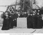 Esther Levy and others at the cornerstone laying ceremony for Temple De Hirsch on Boylston Avenue,...