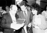 Natan Sharansky with man and woman at Kane Hall, University of Washington, Seattle, June 26, 1988