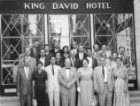 Tour group in front of King David Hotel, Jerusalem, Israel, ca. 1957