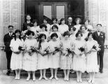 Temple De Hirsch confirmation class on steps of Temple Center, Seattle, 1925