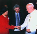 Sandy and Henry Friedman meeting Pope John Paul II at Vatican commemoration of Yom HaShoah...