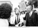 Rabbi Simon Benzaquen at rally in support of Soviet Jewry, Seattle, ca. 1986-1987
