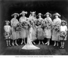 Zerline Joelsohn on her wedding day with bridal party at Temple de Hirsch, Seattle, July 27, 1921