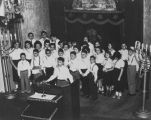 Sephardic Bikur Holim children's choir performing at Chanukah event, Seattle, ca. 1952-1953