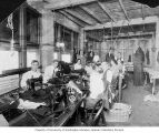 Sewing factory with employees and (probably) Louis I. Hoffman in back, Hoffman Cloak & Suit...