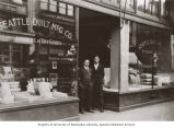 Charles Miller (left) and Morris Miller in front of Seattle Quilt Company, Seattle, Washington,...