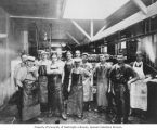 Milwaukee Sausage Co. employees at company's first location, 20th Avenue and E. Columbia St.,...