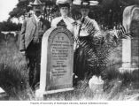 Sam and Ida Frauenthal and Hilda Geers (L to R) with gravestone in hometown, Kaiserslautern,...
