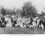 Large group at picnic on Ault's farm, Home Colony, Pierce County, Washington, 1916