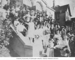 Wedding party of Gladys Fisse and Leon Rousso on the steps of Congregation Ezra Bessaroth, 15th...