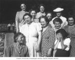 Bertha Rind with Hadassah Bridge Group, location unknown, ca. 1950