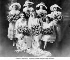 Bride Prieva Rickles Smith with wedding party, Seattle, 1919