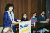 Principal Debra Butler (left) and teachers at Seattle Jewish Primary School recruitment open...