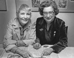 Evelyn Auerbach (left) and Sylvia Siegel, Jewish community leaders, Seattle, Washington, ca....