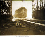 Photo of the launching of U.S. Battleship NEBRASKA, at the Moran Brothers Shipyard, Seattle, 1904