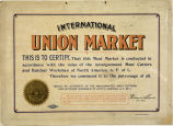 Union certificate hung at Fisher's Meat Market, Issaquah, ca. 1930