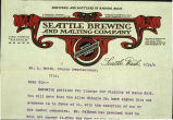 Correspondence on Seattle Brewing and Malting Company letterhead re liquor license, 1904
