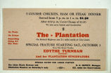 Menu from the Plantation,  Bothell, 1935