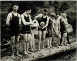 Photo of bathers at SeaTac's Angle Lake, ca. 1920