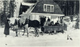 Photo of a sleigh ride party, 1916