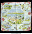 Handkerchief of Seattle landmarks, ca. 1950