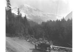 "Automobile at ""Sublimity Vista"" with Mount Rainier in the background, Washington, July..."