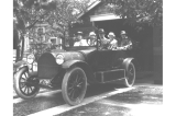 H. Ambrose Kiehl and family in an automobile at the start of a family outing, Washington, August...