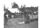 Soldiers lined up in front of mess tent, Fort Lawton, Washington, 1900