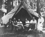 H. Ambrose Kiehl, Laura Kiehl, and others at a campsite, Washington, July 15, 1917
