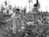 Laura and Miriam Kiehl chopping wood, Fort Lawton, Seattle, Washington, December 1899