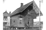 Log house school on the southwest corner of Queen Anne Ave. and Republican St., Seattle,...